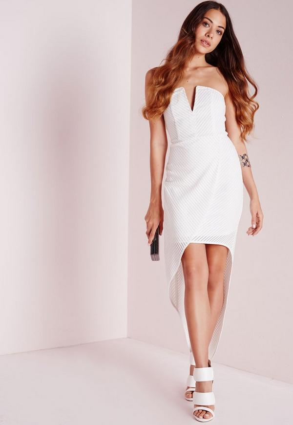 Striped Bandage Draped Bandeau Dress White