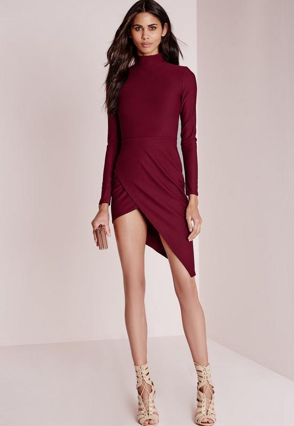 High Neck Asymmetric Hem Midi Dress Burgundy