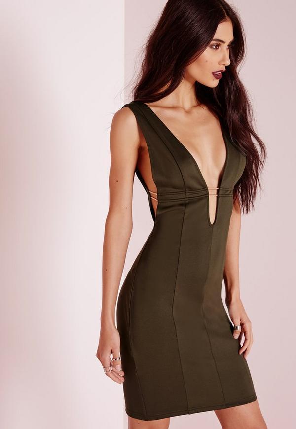 Sleeveless Open Side Gold Fastening Bodycon Dress Khaki | Missguided