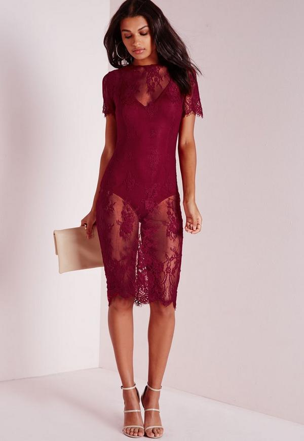 Lace Short Sleeve Bodycon Dress Burgundy