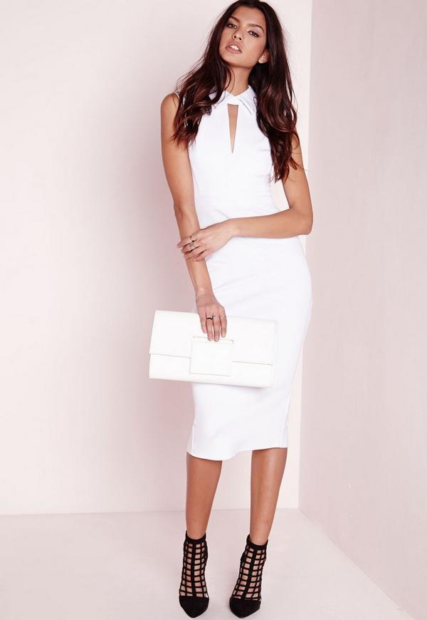 Scuba Collared Midi Dress White