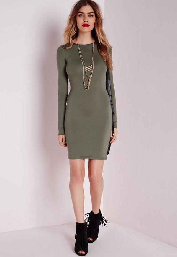 Long Sleeve Jersey Bodycon Dress Khaki