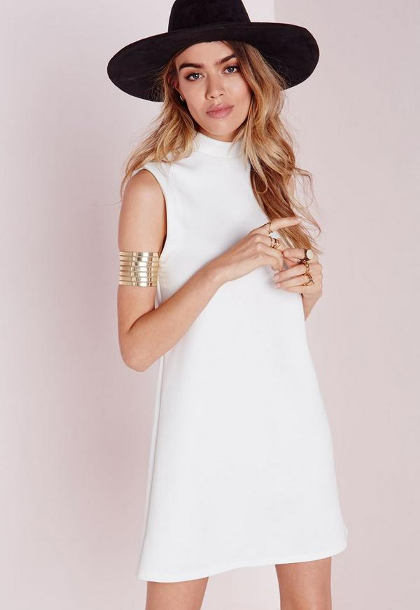 High Neck Sleeveless Scuba Shift Dress White