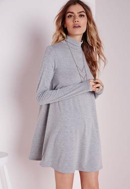 Roll Neck Long Sleeve Jersey Swing Dress Grey