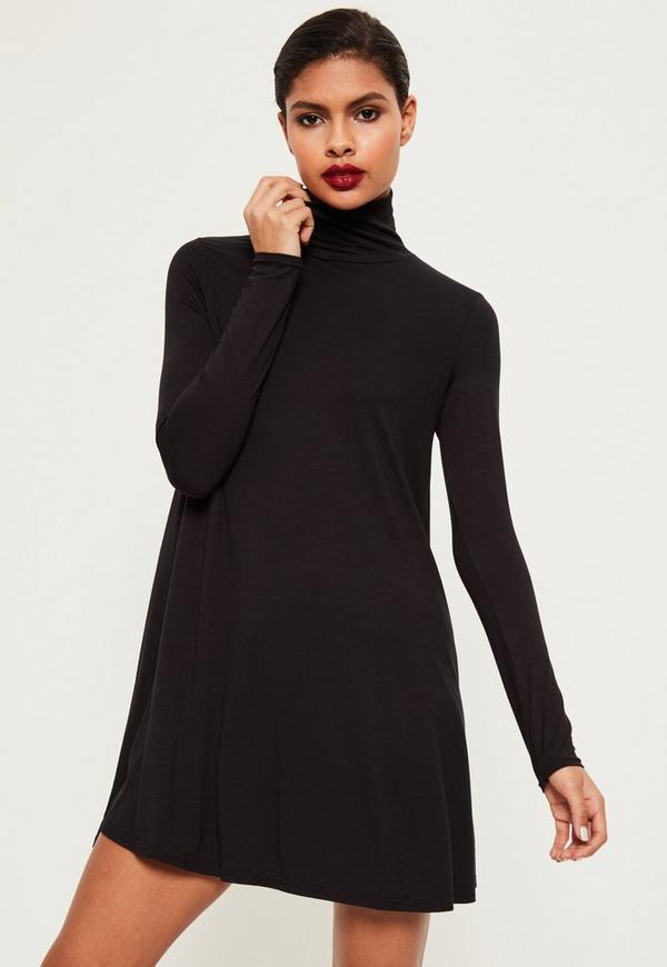 Long sleeve swing dress black