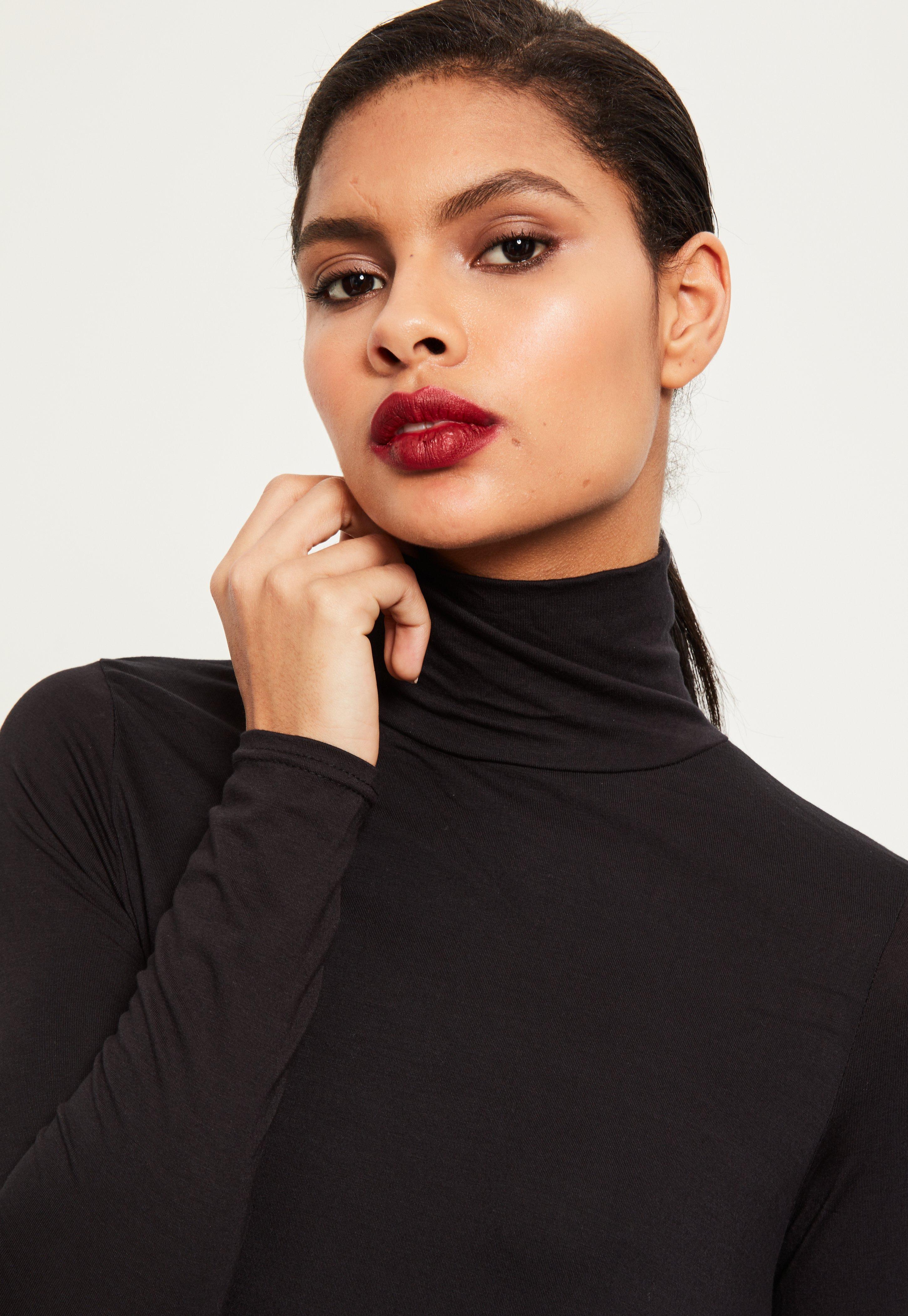 Roll Neck Long Sleeve Jersey Swing Dress Black