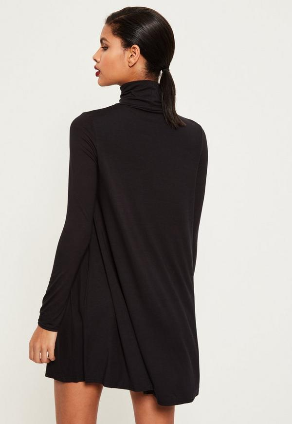 Roll Neck Long Sleeve Jersey Swing Dress Black