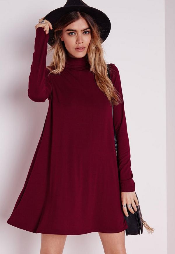 Roll Neck Long Sleeve Jersey Swing Dress Burgundy
