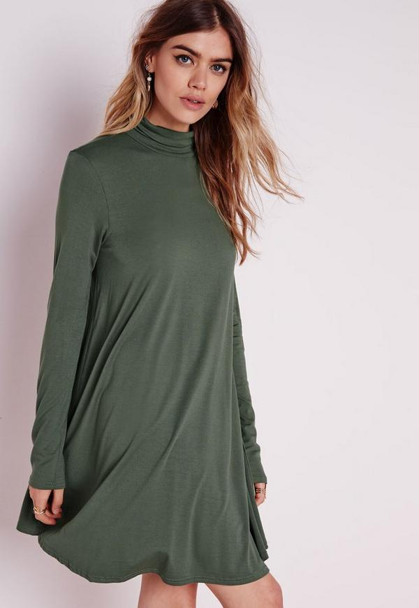 Roll Neck Long Sleeve Jersey Swing Dress Khaki