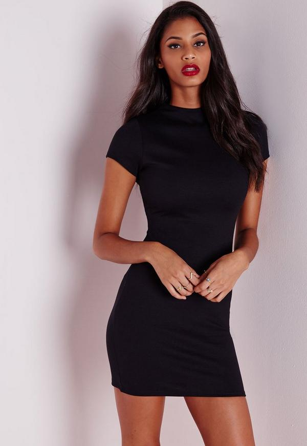 Short Sleeve Ponte Bodycon Dress Black