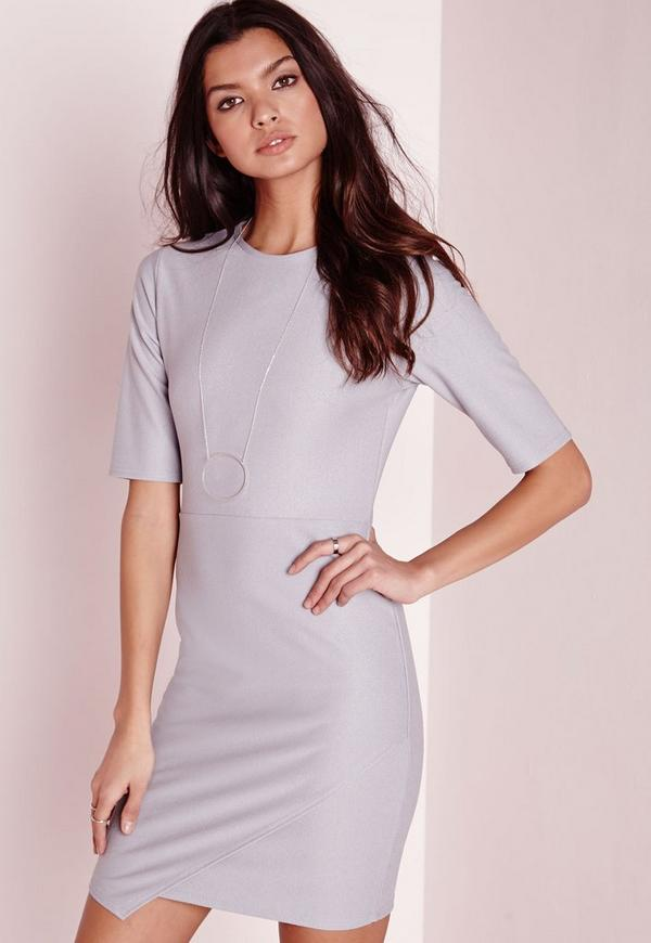 Asymmetric Wrap Hem Crepe Bodycon Dress Grey