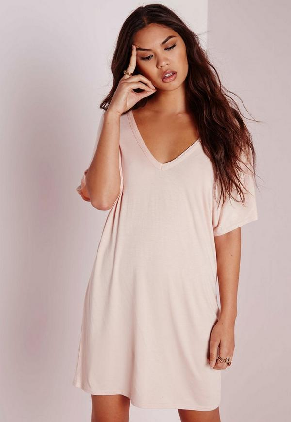 Wide V Neck T-Shirt Dress Nude