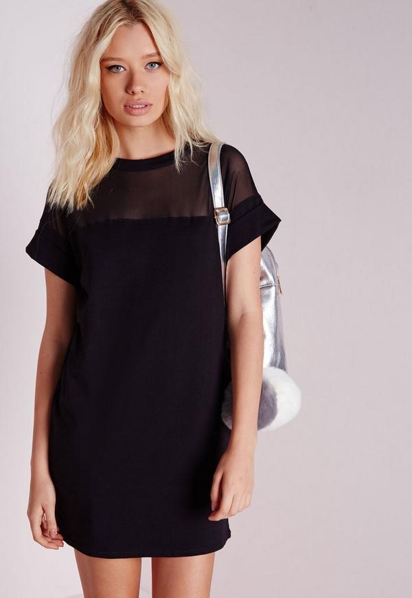 Mesh Panel T-Shirt Dress Black