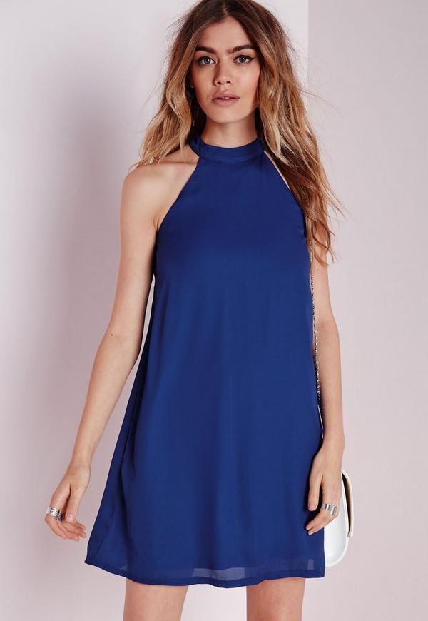 High Neck Crepe Swing Dress Cobalt Blue