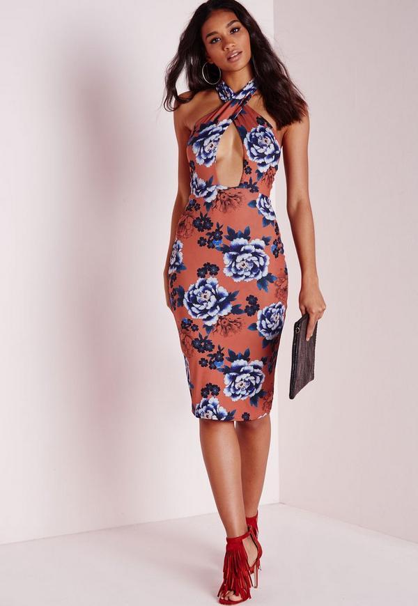 Slinky Bodycon Dress Floral Print