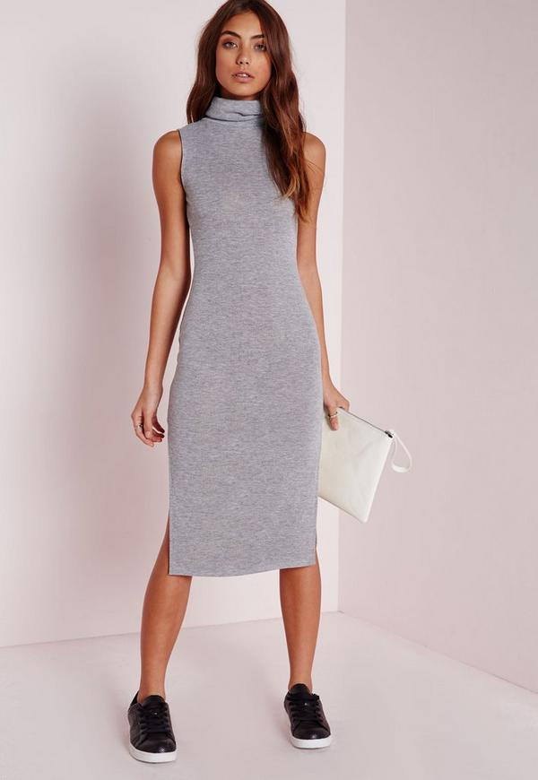Roll Neck Knitted Midi Dress Grey Marl