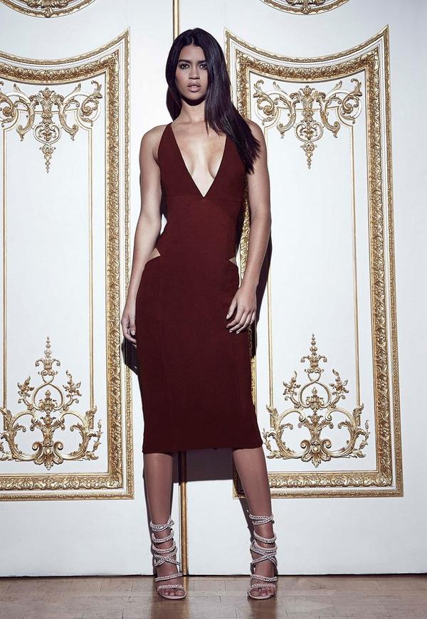 Plunge Cut-out Midi Dress Burgundy