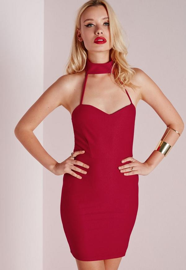 Strap Neck Detail Bodycon Dress Red