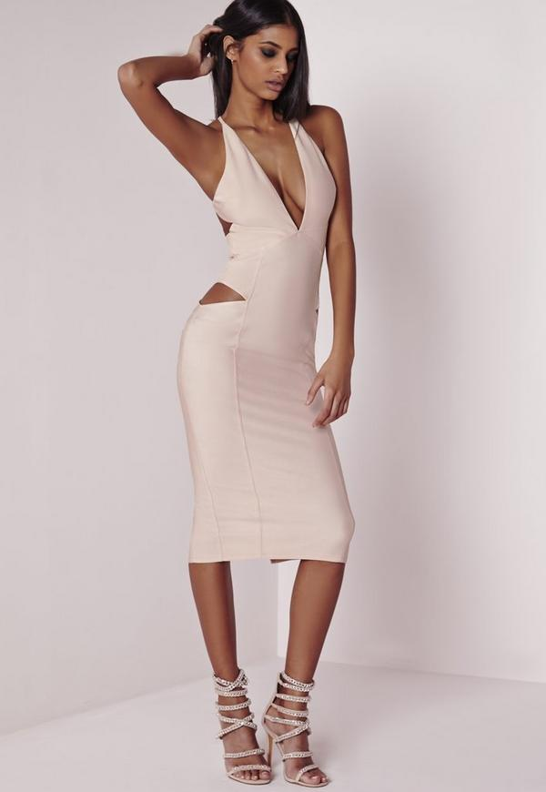 Plunge Cut-out Midi Dress Nude