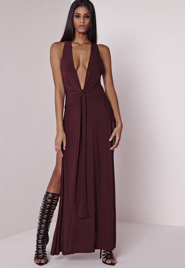 Peace + Love Plunge Maxi Dress Burgundy