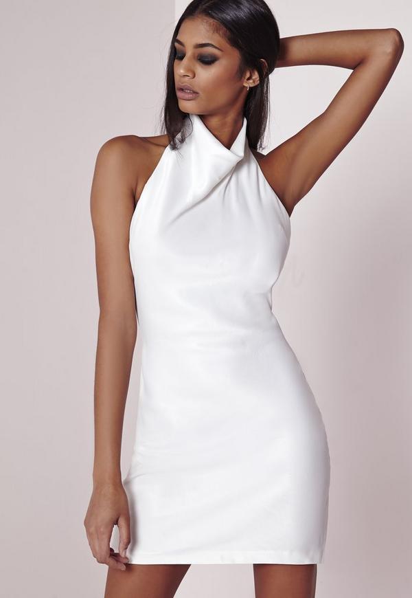 High Neck Satin Mini Dress White