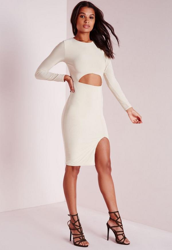 Slinky Cut Out Midi Dress Cream