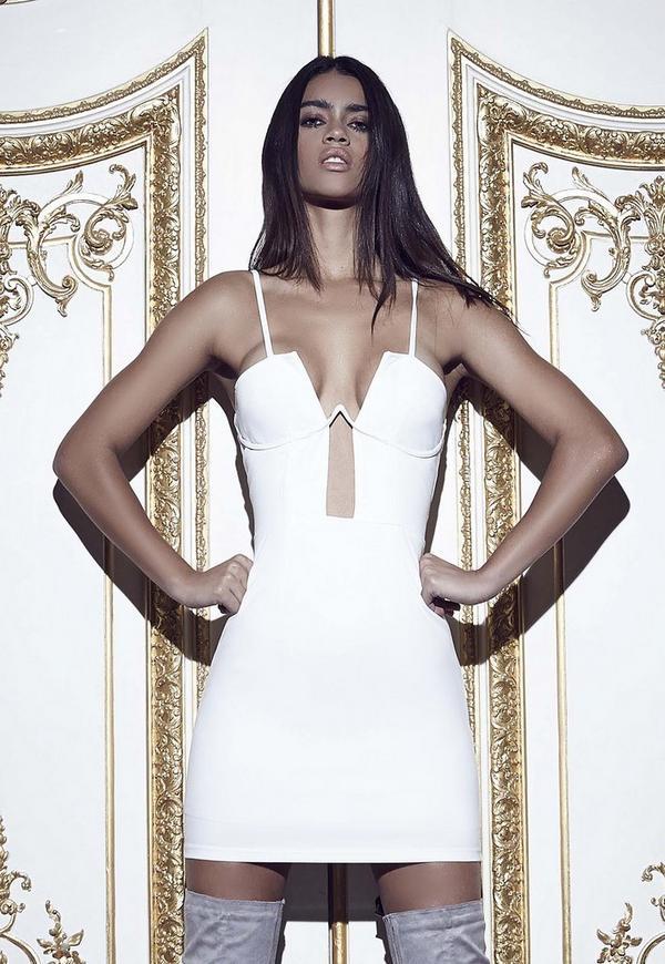 Boned Cup Bodycon Dress White