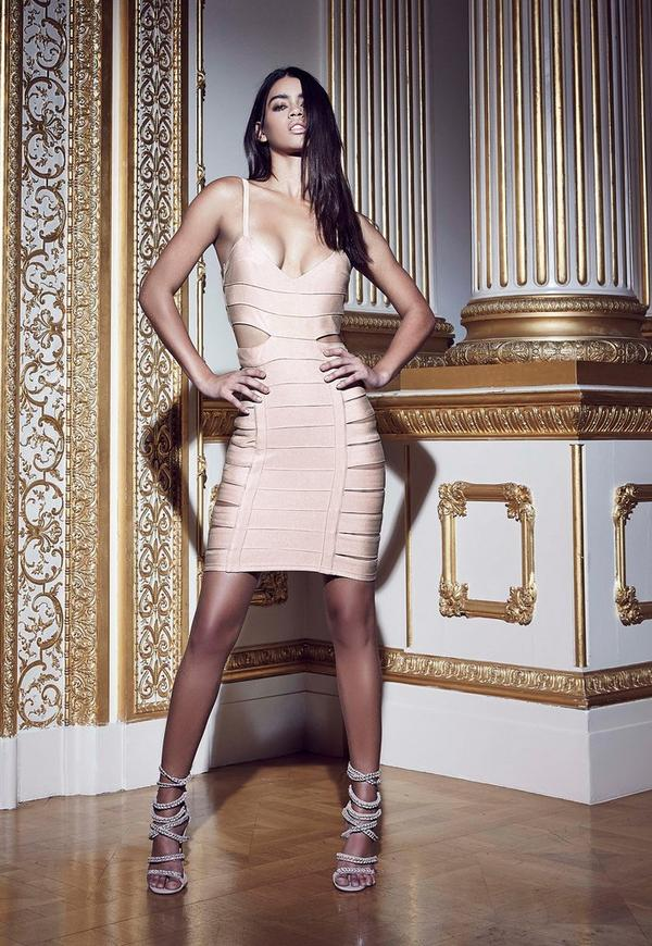 Slashed Side Bandage Dress Nude