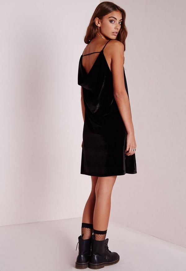 Cowl Back Shift Dress Black Velvet