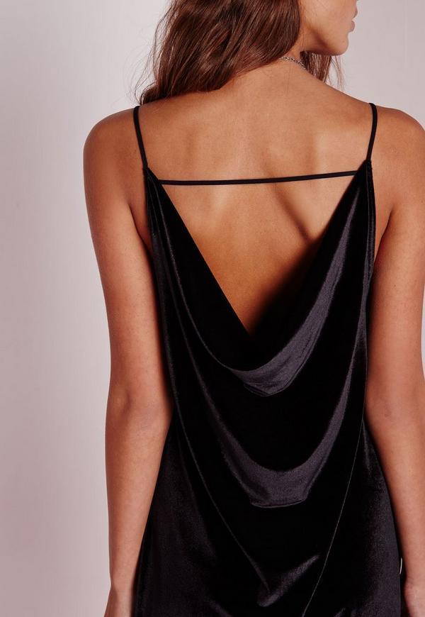 robe vas e noire en velours dos chancr missguided. Black Bedroom Furniture Sets. Home Design Ideas