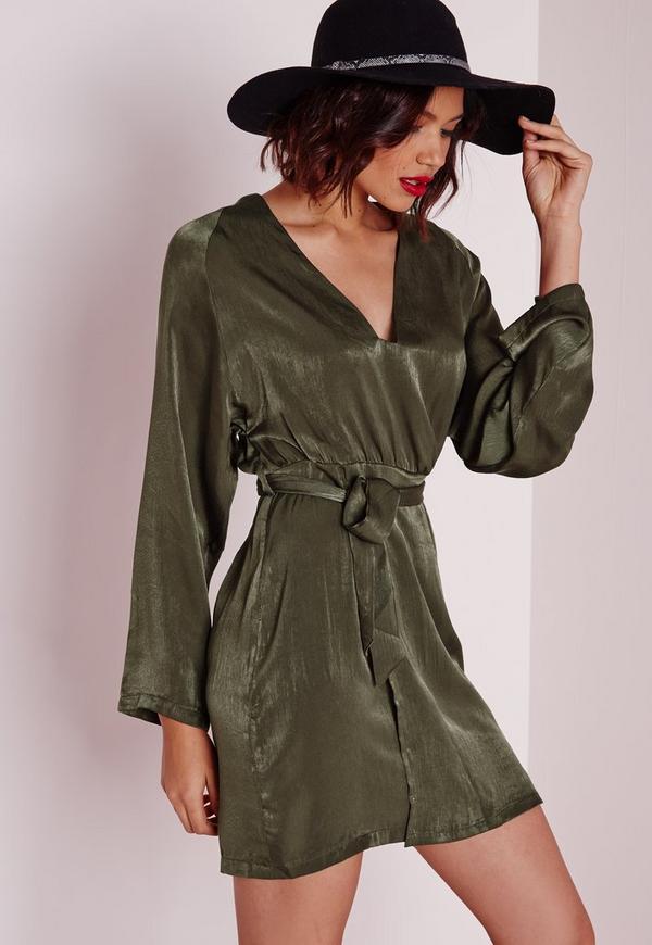 Silky Kimono Wrap Mini Dress With Belt Khaki