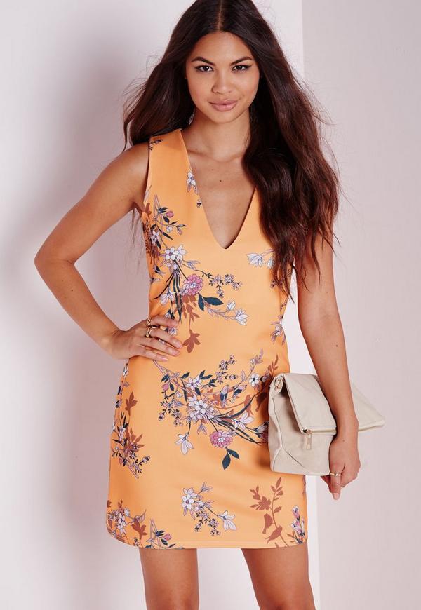 V Neck Bodycon Dress Yellow Print