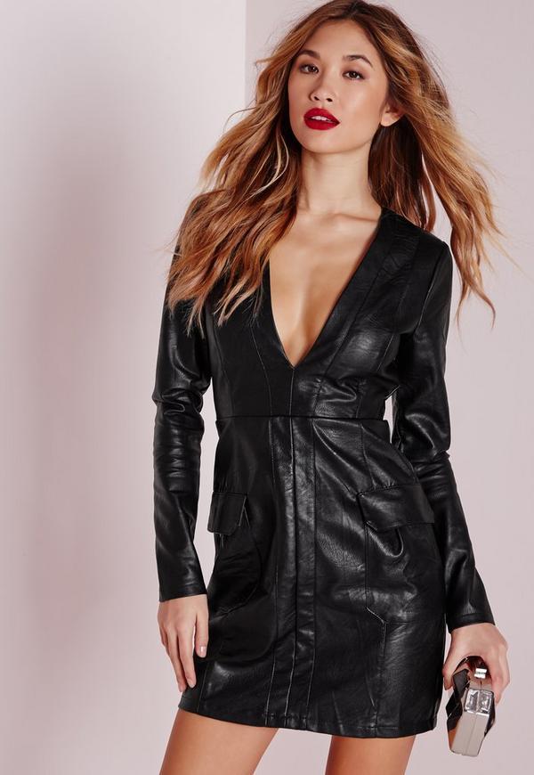 Faux Leather Pocket Detail Bodycon Dress Black