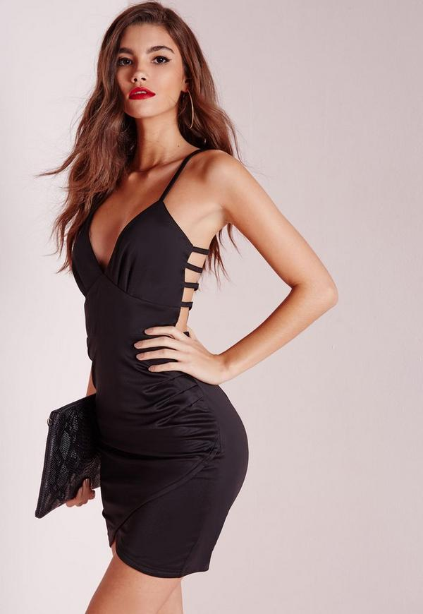 Back Detail Bodycon Wrap Dress Black