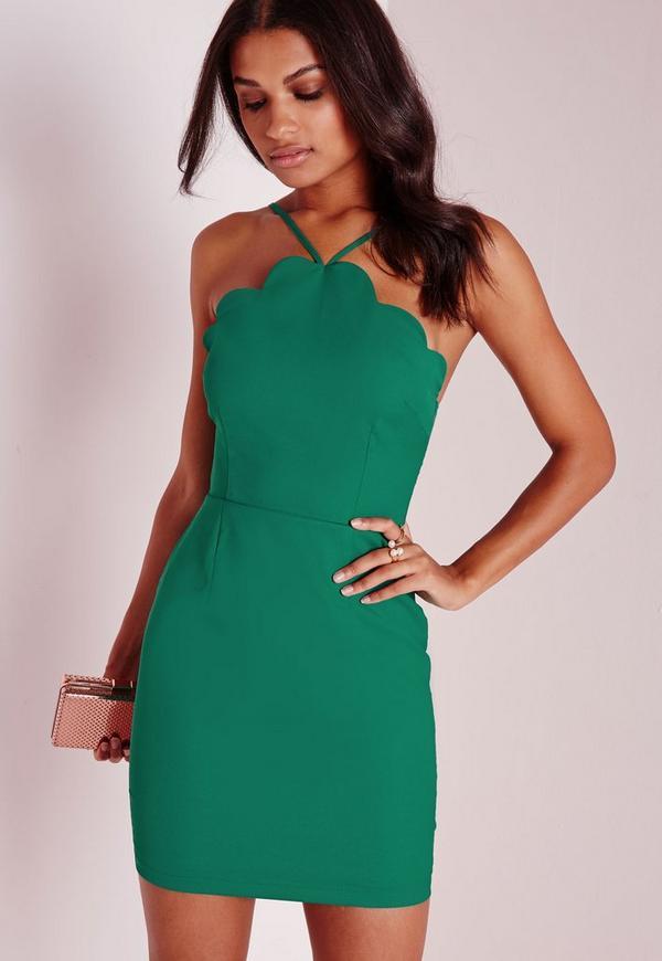 Scallop Bodycon Dress Green
