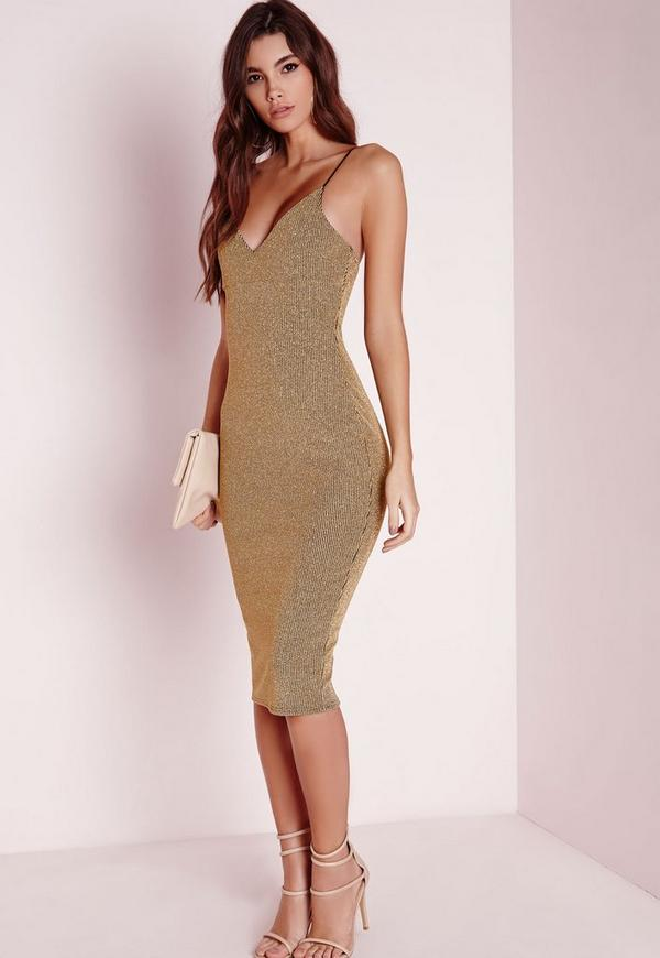 Strappy Stripe Midi Dress Gold