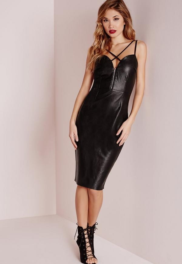 Faux Leather Cross Strap Midi Dress Black