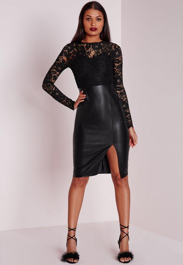 Faux Leather Lace Midi Dress Black