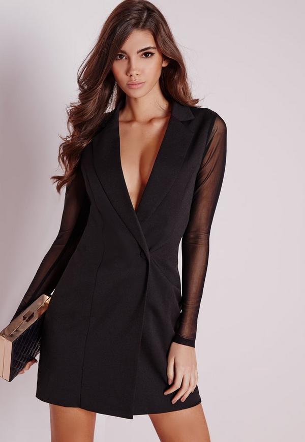 Mesh Back Blazer Dress Black