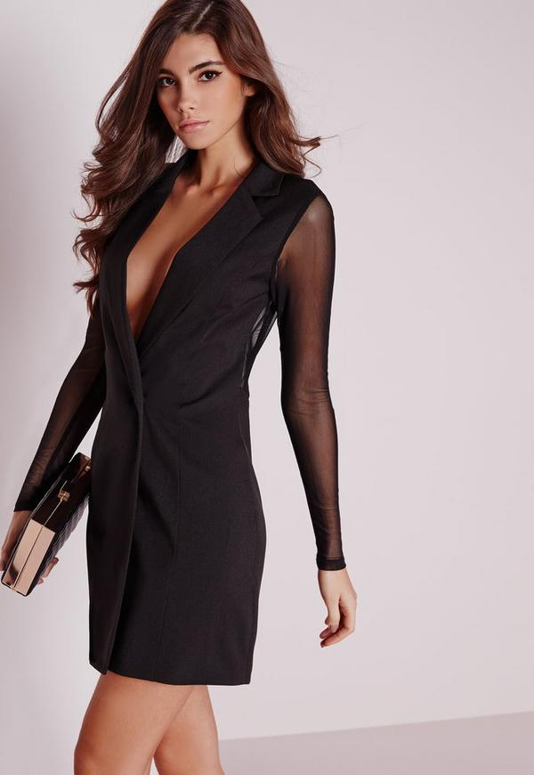 Mesh Back Blazer Dress Black