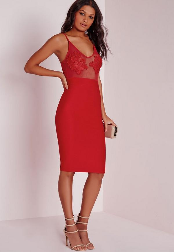 Embroidered Bust Detail Bodycon Dress Red - Dresses - Bodycon ...