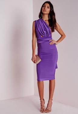Do It Any Way Multiway Slinky Midi Dress Purple