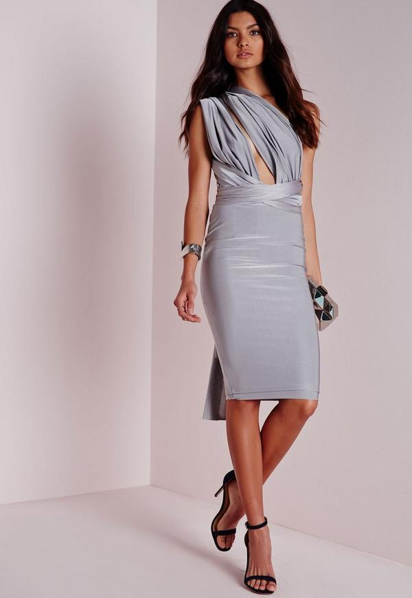 Do It Any Way Multiway Slinky Midi Dress Silver