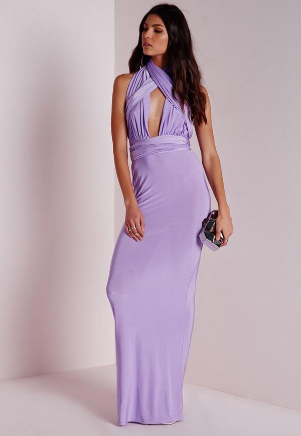 Do It Any Way Multiway Slinky Maxi Dress Purple