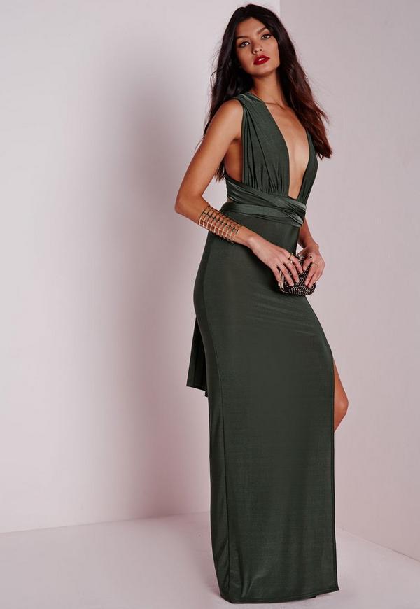 Do It Any Way Multiway Slinky Maxi Dress Khaki