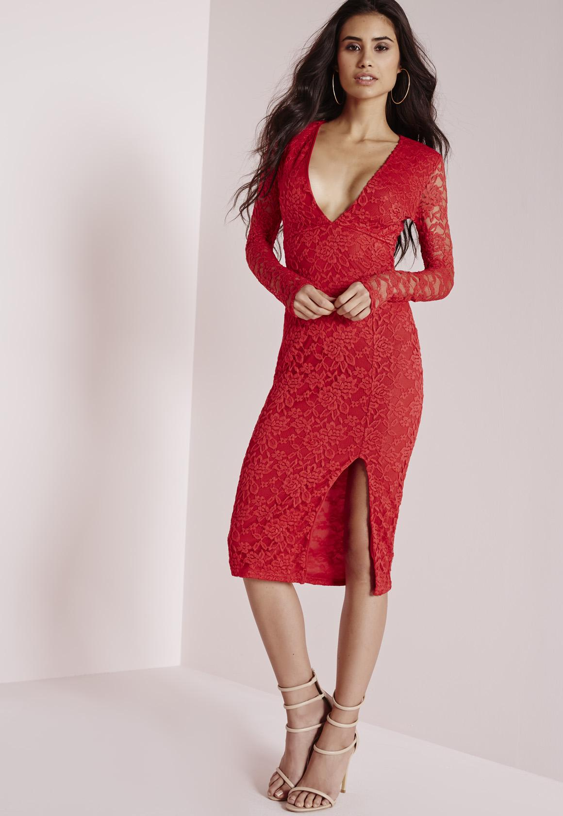 Lace Long Sleeve Side Split Midi Dress Red | Missguided