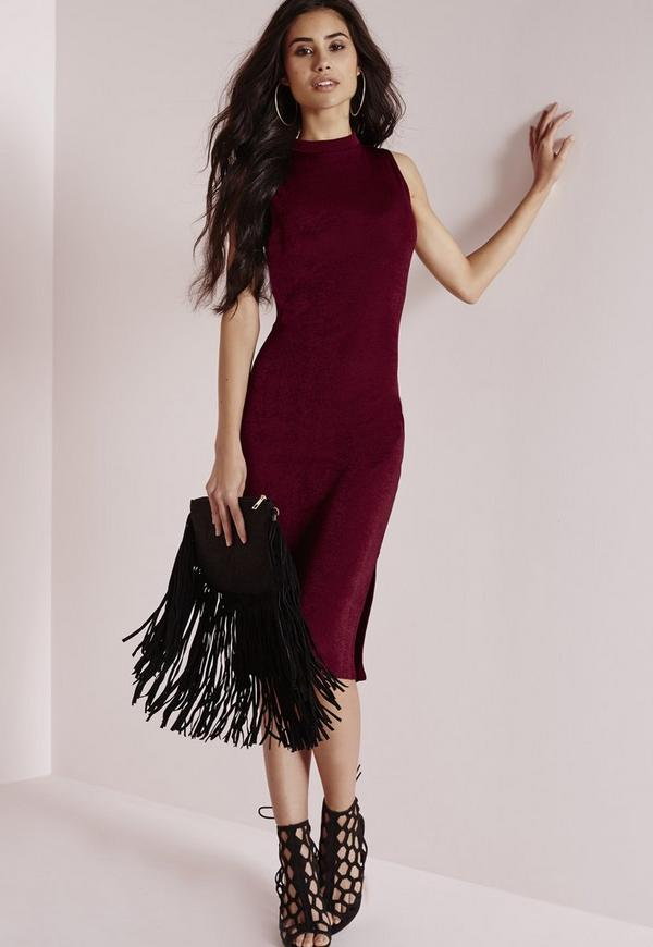 High Neck Knitted Midi Dress Burgundy