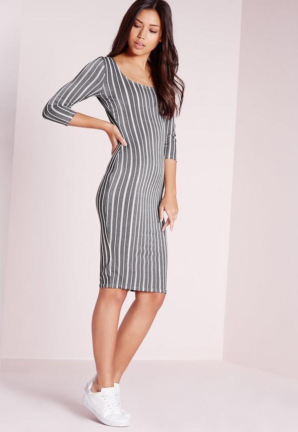 Textured Stripe Midi Dress Grey