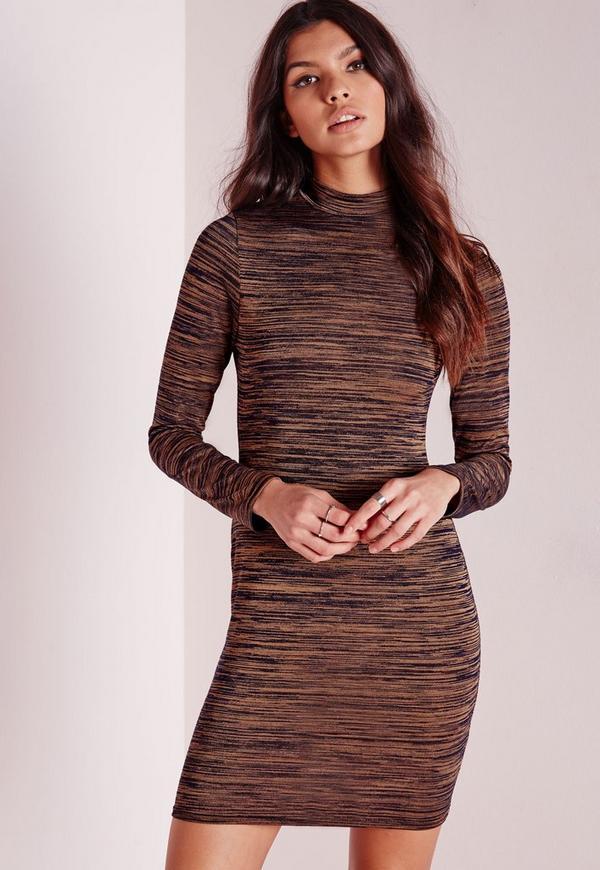 High Neck Long Sleeve Bodycon Dress Bronze Marl
