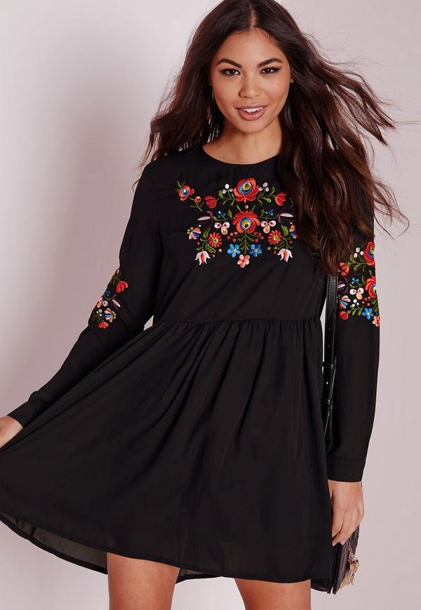 Long Sleeve Embroidered Front & Sleeve Dress Black
